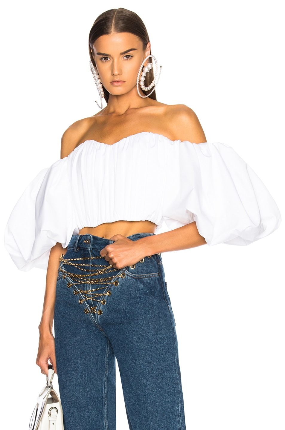 Image 1 of Ellery Bachelorette Rouched Corset Top in White