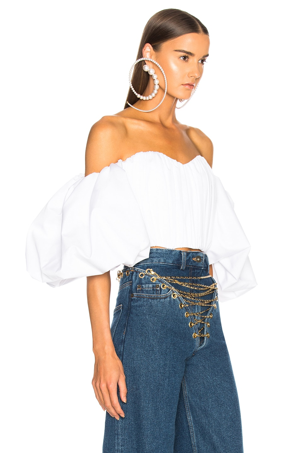Image 2 of Ellery Bachelorette Rouched Corset Top in White