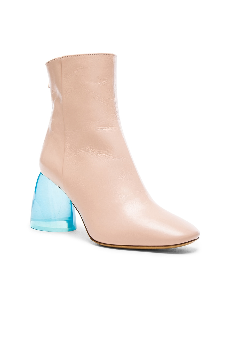 Image 2 of Ellery Leather Sacred Booties in Nude & Aqua