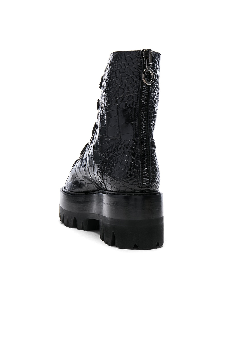 Image 3 of Ellery Croc Embossed Sunny Boots in Black & Red