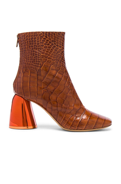 Image 1 of Ellery Croc Embossed Jezebels Boots in Tan & Orange