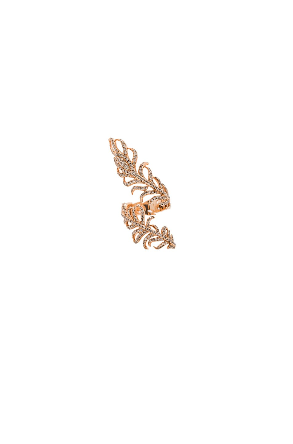 Image 1 of Elise Dray Swirl Feather Ring in Rose Gold & Brown Diamonds