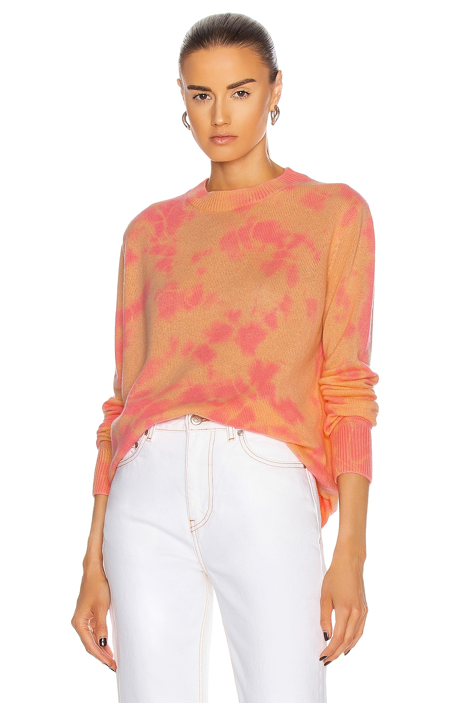 Image 1 of The Elder Statesman Hot Tranquility Crew Sweater in Peach & Hot Pink