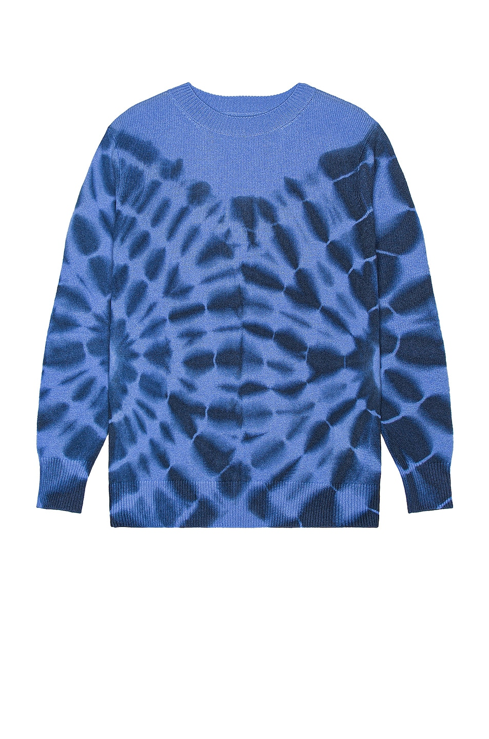 Image 1 of The Elder Statesman Ink Blot Tranquility Crew Sweater in Periwinkle & Navy