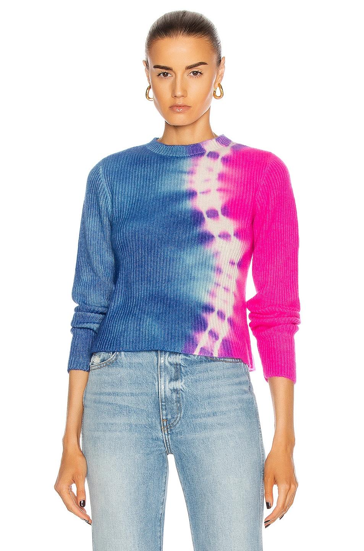 Image 1 of The Elder Statesman Snake Med Rib Crop Crew Sweater in Ivory, Blue Jean & Neon Pink