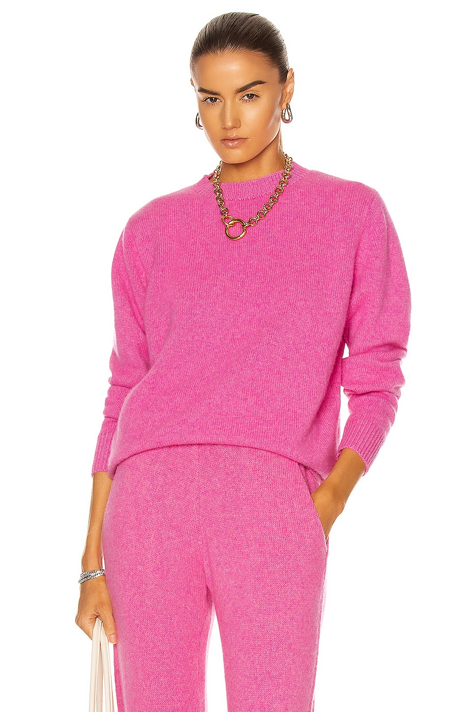 Image 1 of The Elder Statesman Simple Crew Sweater in Neon Pink