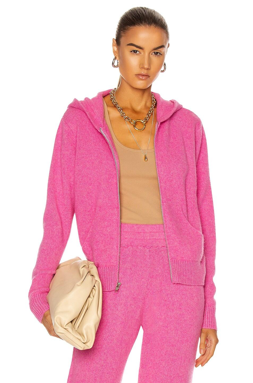 Image 1 of The Elder Statesman Heavy Crop Zip Hoodie in Neon Pink