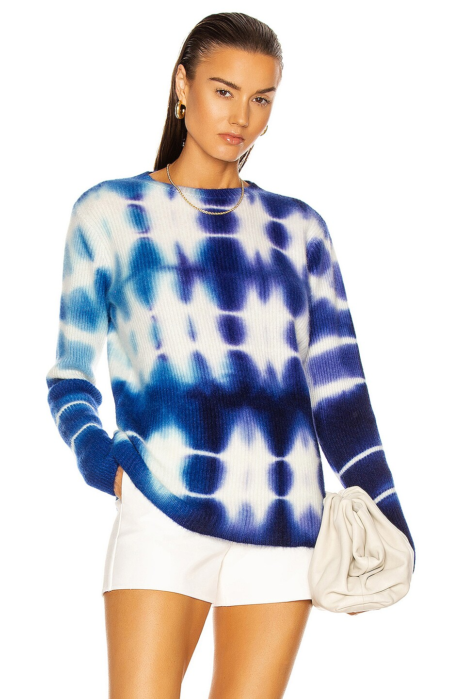 Image 1 of The Elder Statesman Triptych Medium Rib Relax Crew Sweater in Ivory, True Blue & Deep Blue