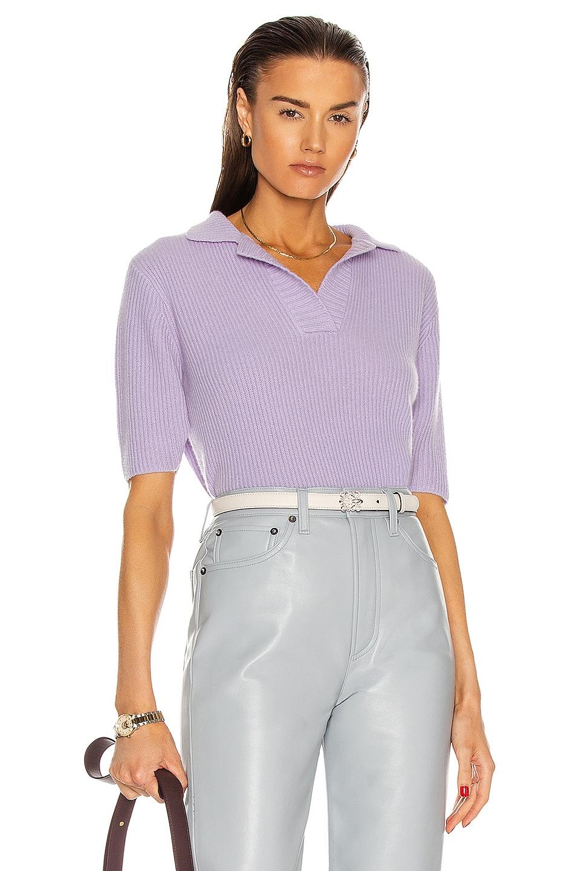 Image 1 of The Elder Statesman Medium Rib Polo Shirt in Lavender