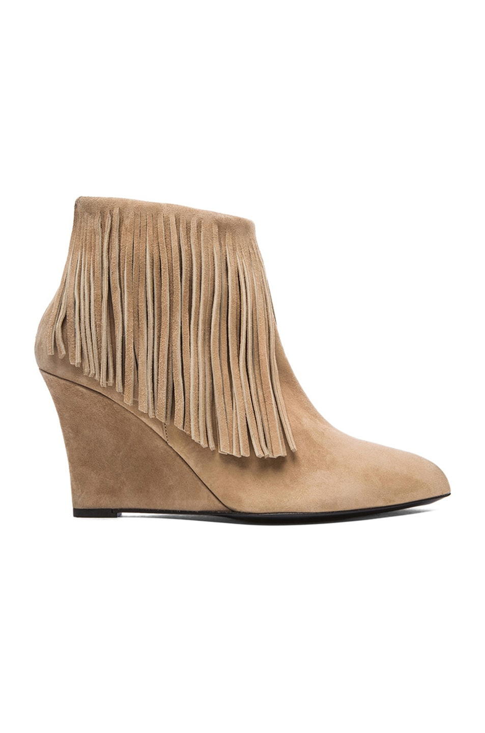 Image 1 of elysewalker los angeles Suede Fringe Booties in Taupe