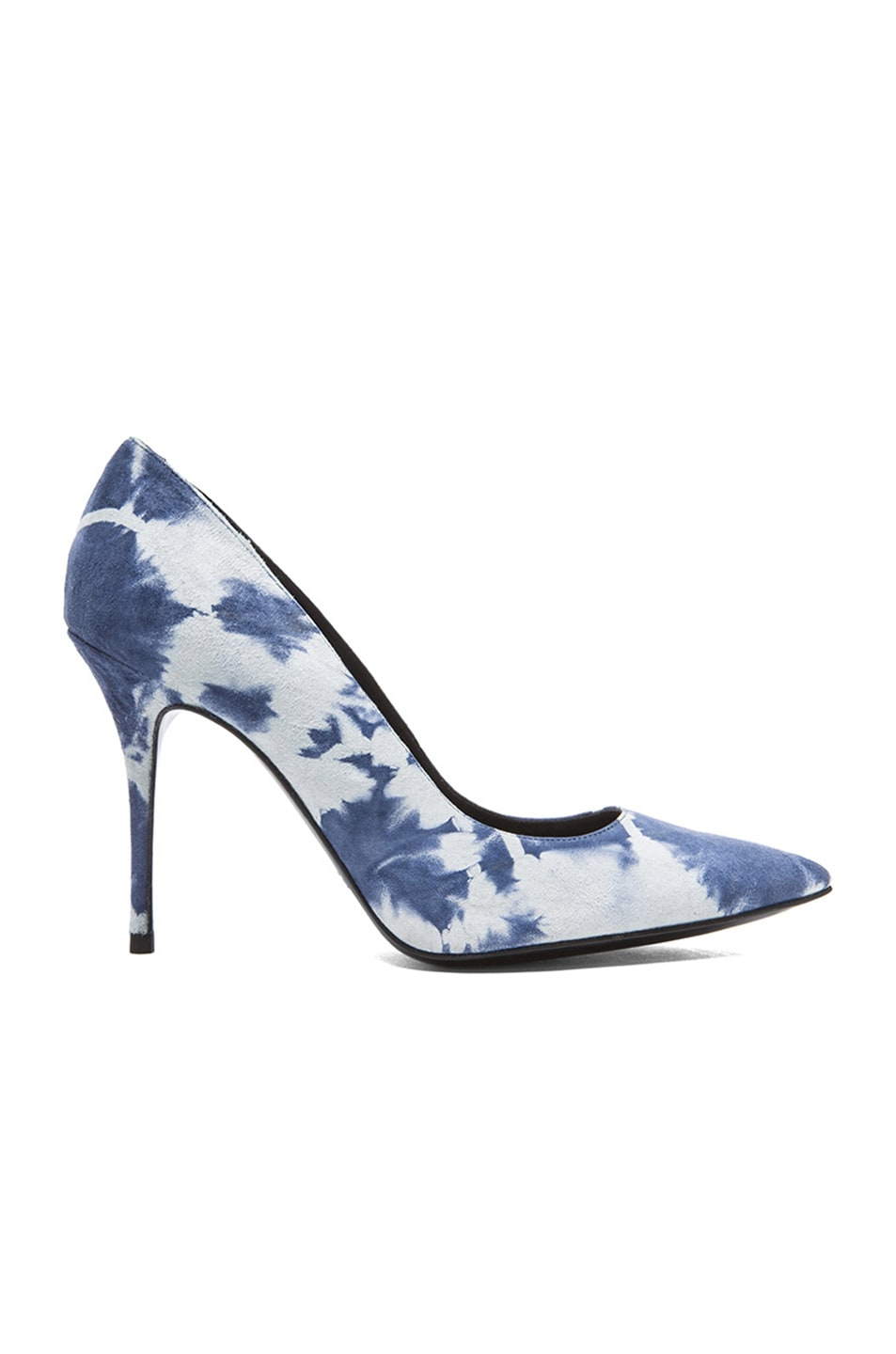 Image 1 of elysewalker los angeles Sable Tie Dye Satik Suede Pumps in Denim & White