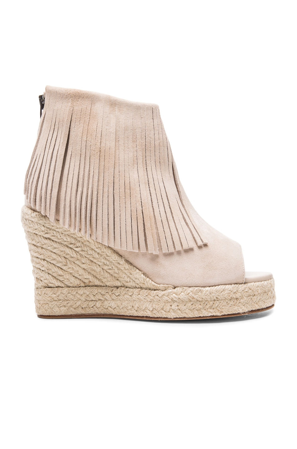 Image 1 of elysewalker los angeles Lindsey Suede Fringe Espadrille Wedges in Dune