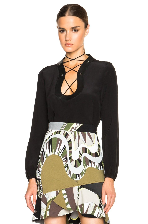 Emilio Pucci lace-up blouse Orange 100% Original Buy Cheap Clearance Store eS1huQDm4