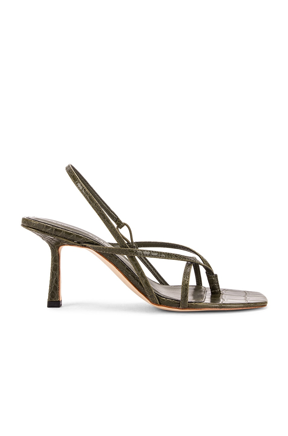 Image 1 of Studio Amelia Vegan 2.4 Flip Flop Heel in Olive Croc Leather