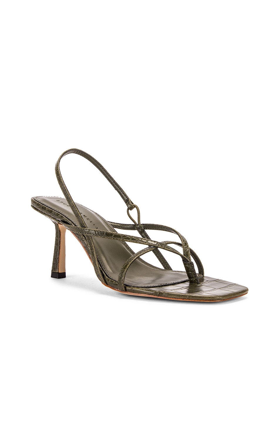 Image 2 of Studio Amelia Vegan 2.4 Flip Flop Heel in Olive Croc Leather