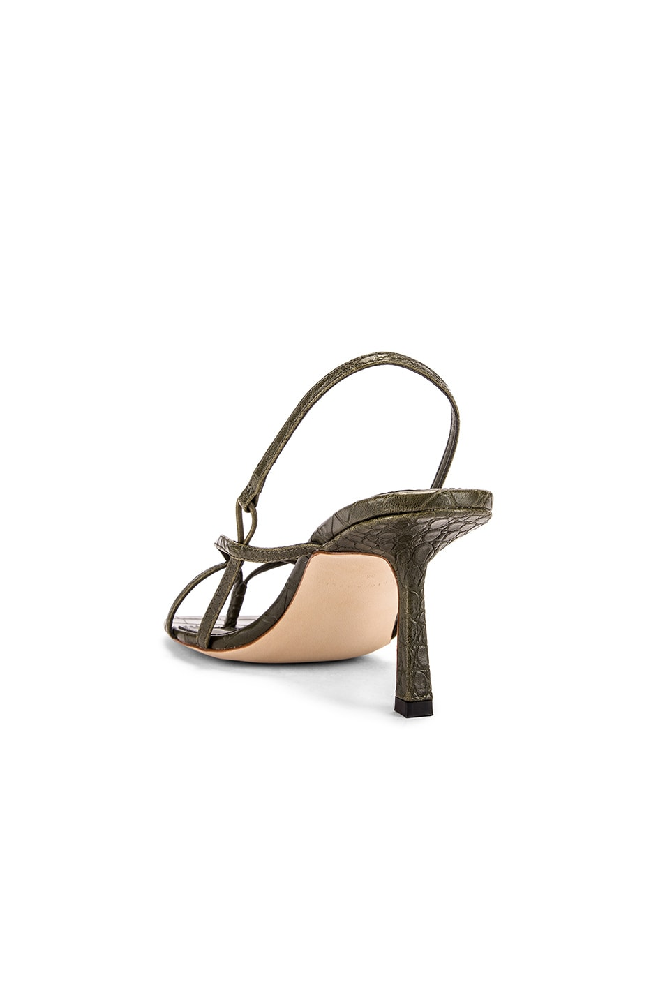 Image 3 of Studio Amelia Vegan 2.4 Flip Flop Heel in Olive Croc Leather