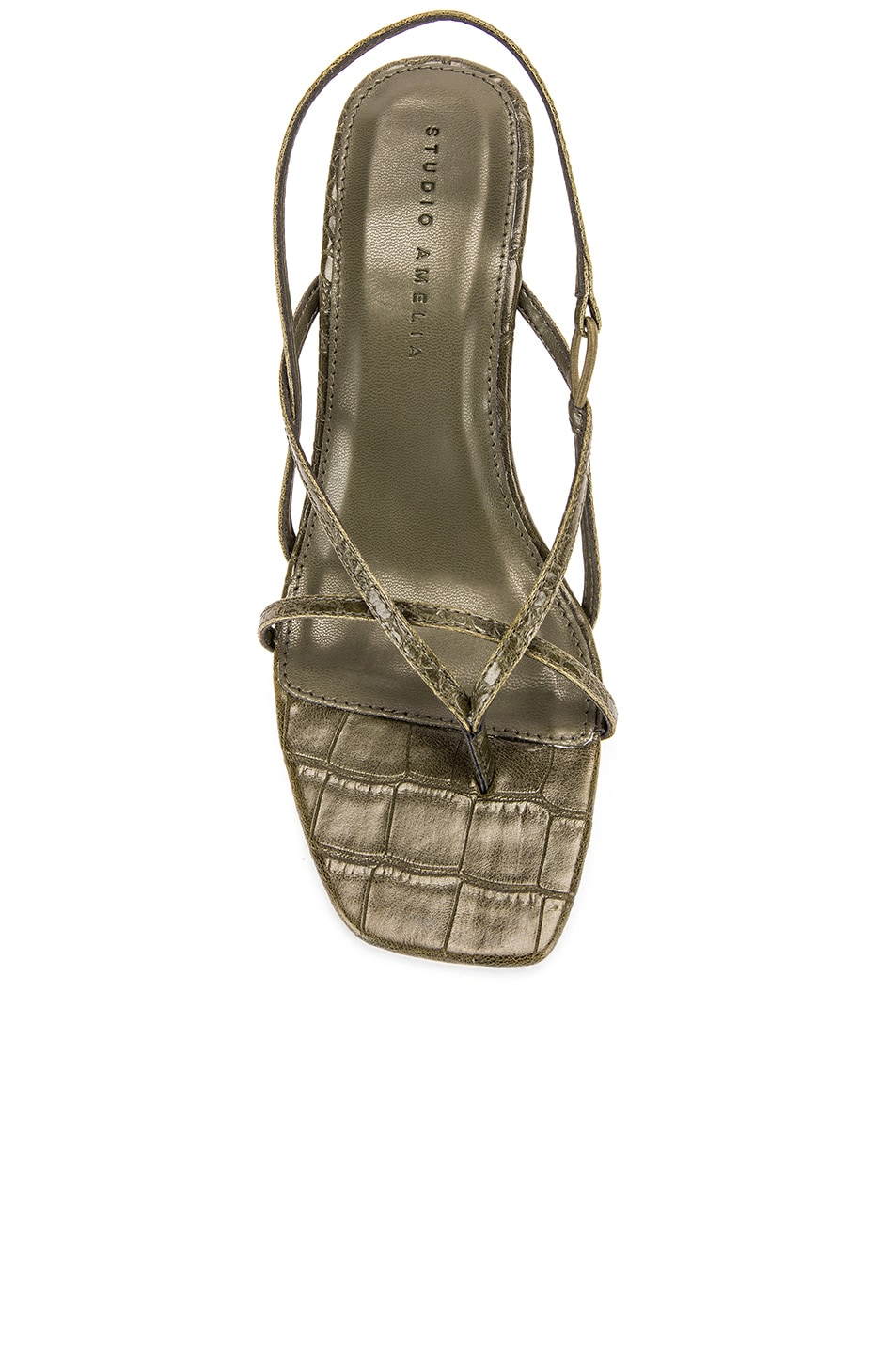 Image 4 of Studio Amelia Vegan 2.4 Flip Flop Heel in Olive Croc Leather
