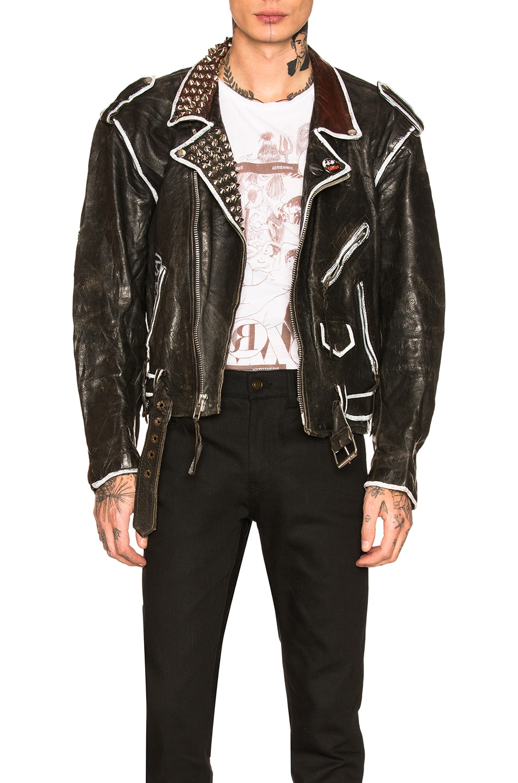 Image 1 of Enfants Riches Deprimes Subhumans Leather Jacket in Black