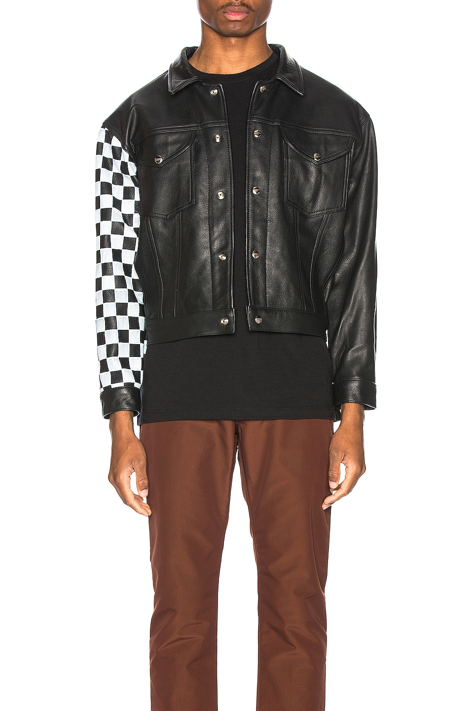 Image 1 of Enfants Riches Deprimes Checkered Sleeve Leather Jacket in Black & White