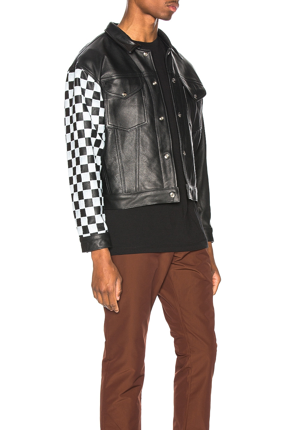 Image 2 of Enfants Riches Deprimes Checkered Sleeve Leather Jacket in Black & White