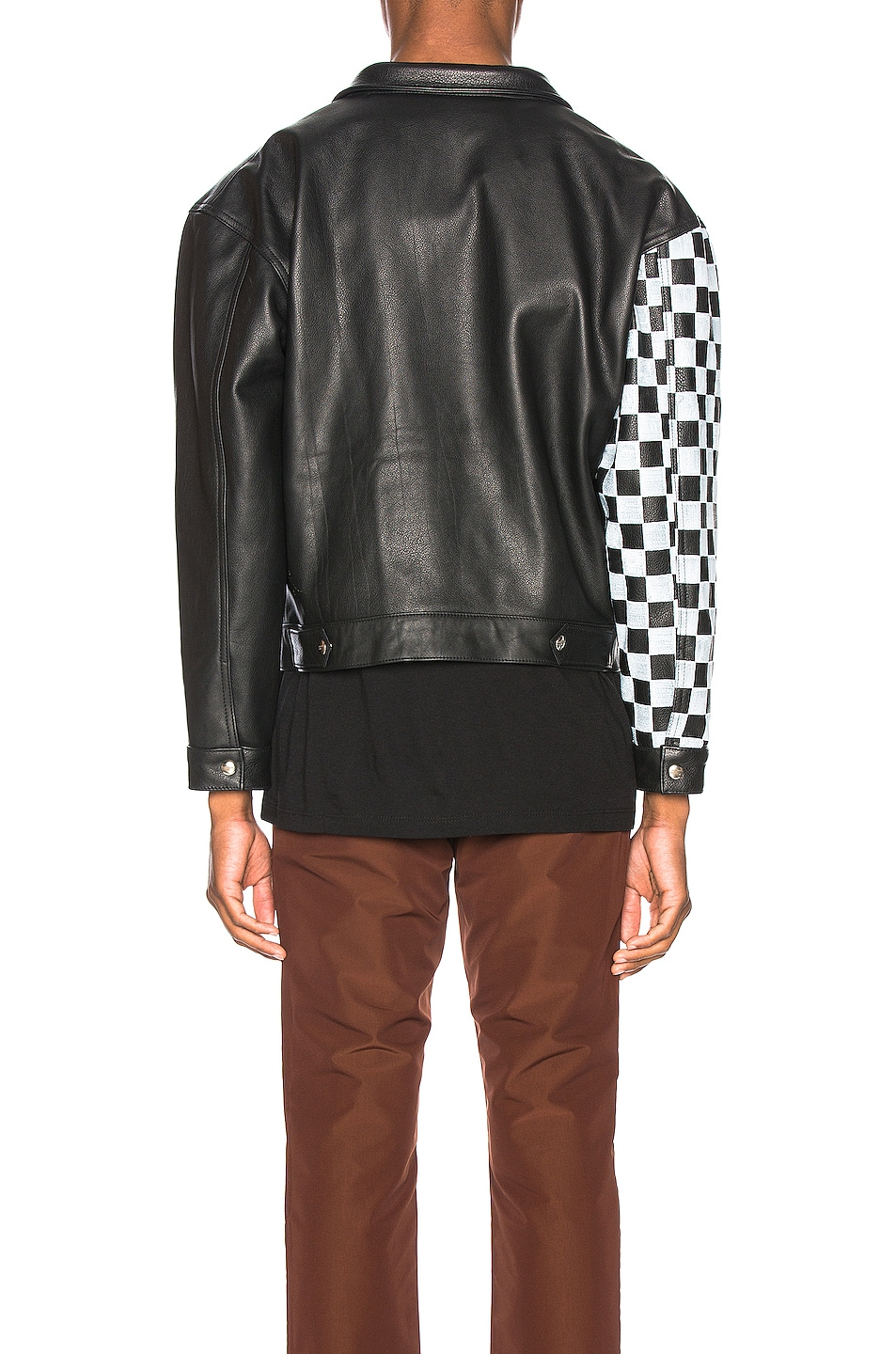 Image 4 of Enfants Riches Deprimes Checkered Sleeve Leather Jacket in Black & White