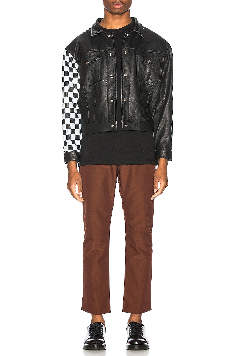 Image 5 of Enfants Riches Deprimes Checkered Sleeve Leather Jacket in Black & White