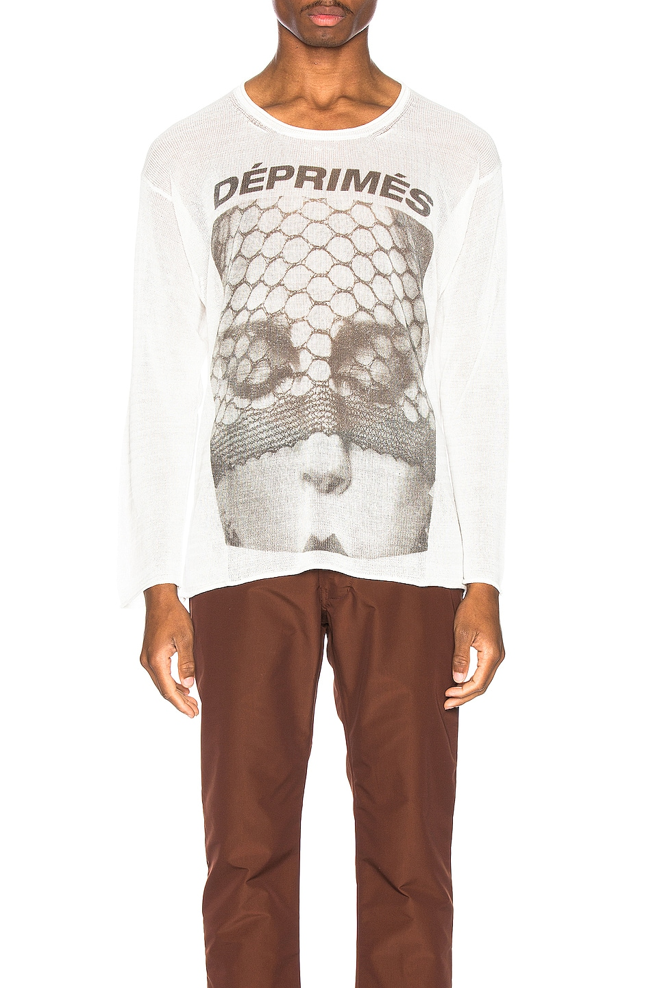Image 1 of Enfants Riches Deprimes Cashmere Long Sleeve Print Tee in Cream & Black