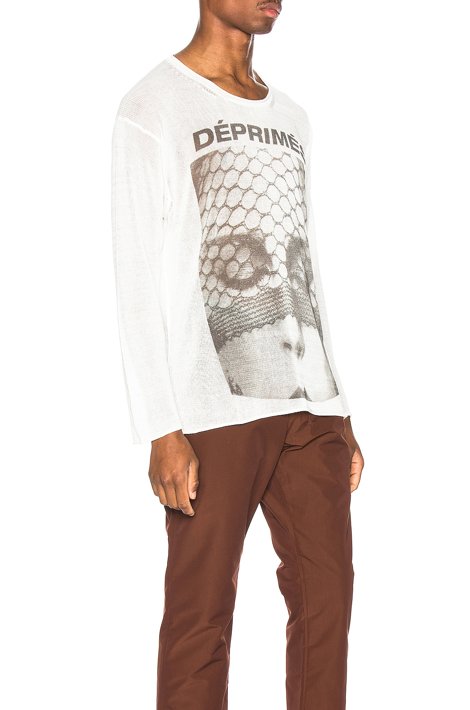 Image 2 of Enfants Riches Deprimes Cashmere Long Sleeve Print Tee in Cream & Black