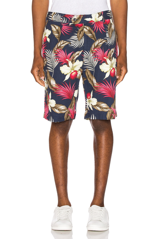 Image 1 of Engineered Garments Sunset Short Hawaiian Floral Java Cloth in Navy