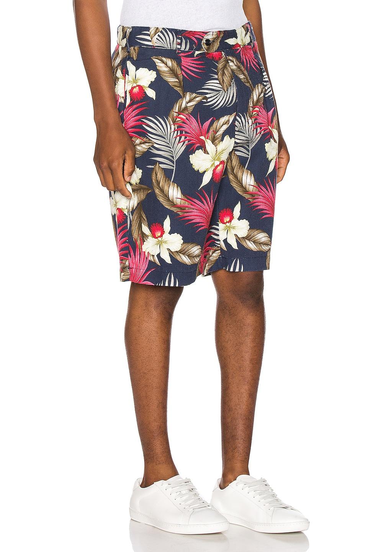 Image 2 of Engineered Garments Sunset Short Hawaiian Floral Java Cloth in Navy