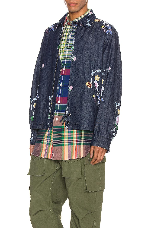 Image 4 of Engineered Garments Claigton Jacket in Indigo Denim Floral Embroidery