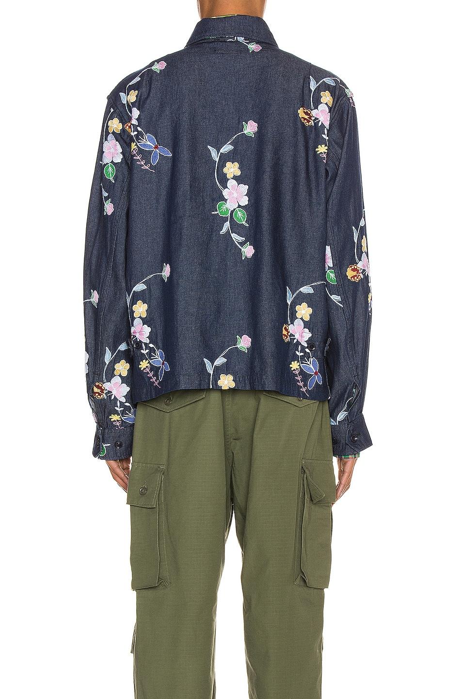 Image 5 of Engineered Garments Claigton Jacket in Indigo Denim Floral Embroidery