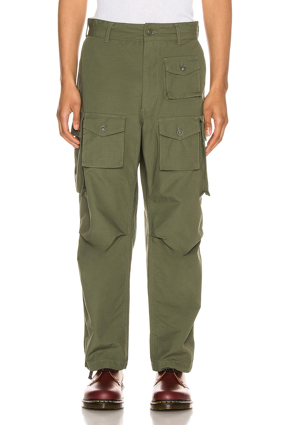 Image 1 of Engineered Garments FA Pant in Olive Cotton Ripstop