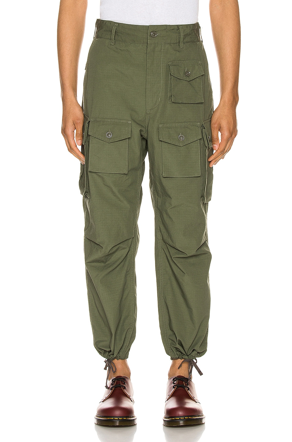 Image 2 of Engineered Garments FA Pant in Olive Cotton Ripstop