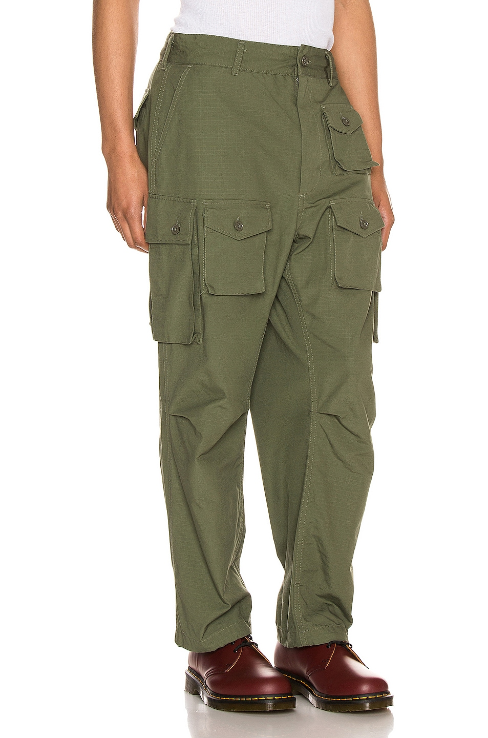Image 3 of Engineered Garments FA Pant in Olive Cotton Ripstop
