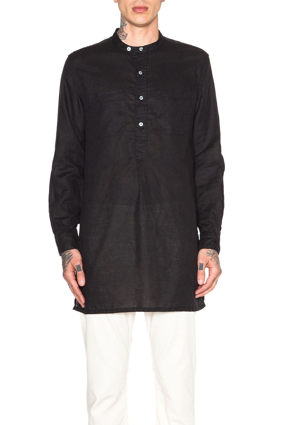 Engineered Garments Cotton Linen Banded Collar Long Shirt In Black