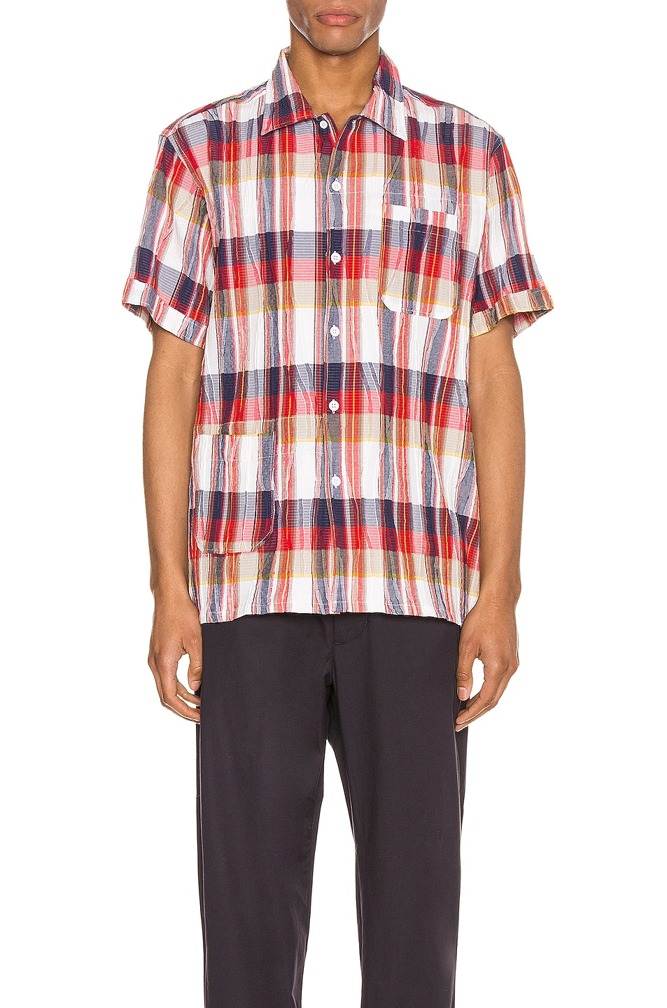 Image 1 of Engineered Garments Camp Shirt in Red & White Cotton Crepe Check