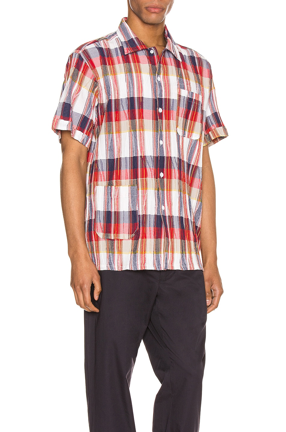 Image 2 of Engineered Garments Camp Shirt in Red & White Cotton Crepe Check