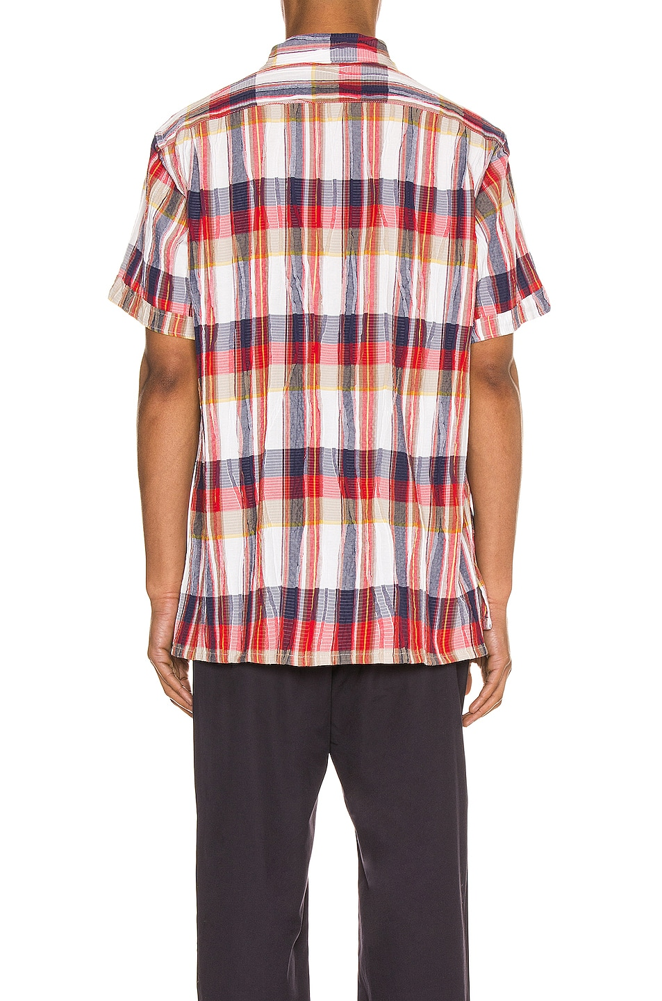 Image 3 of Engineered Garments Camp Shirt in Red & White Cotton Crepe Check