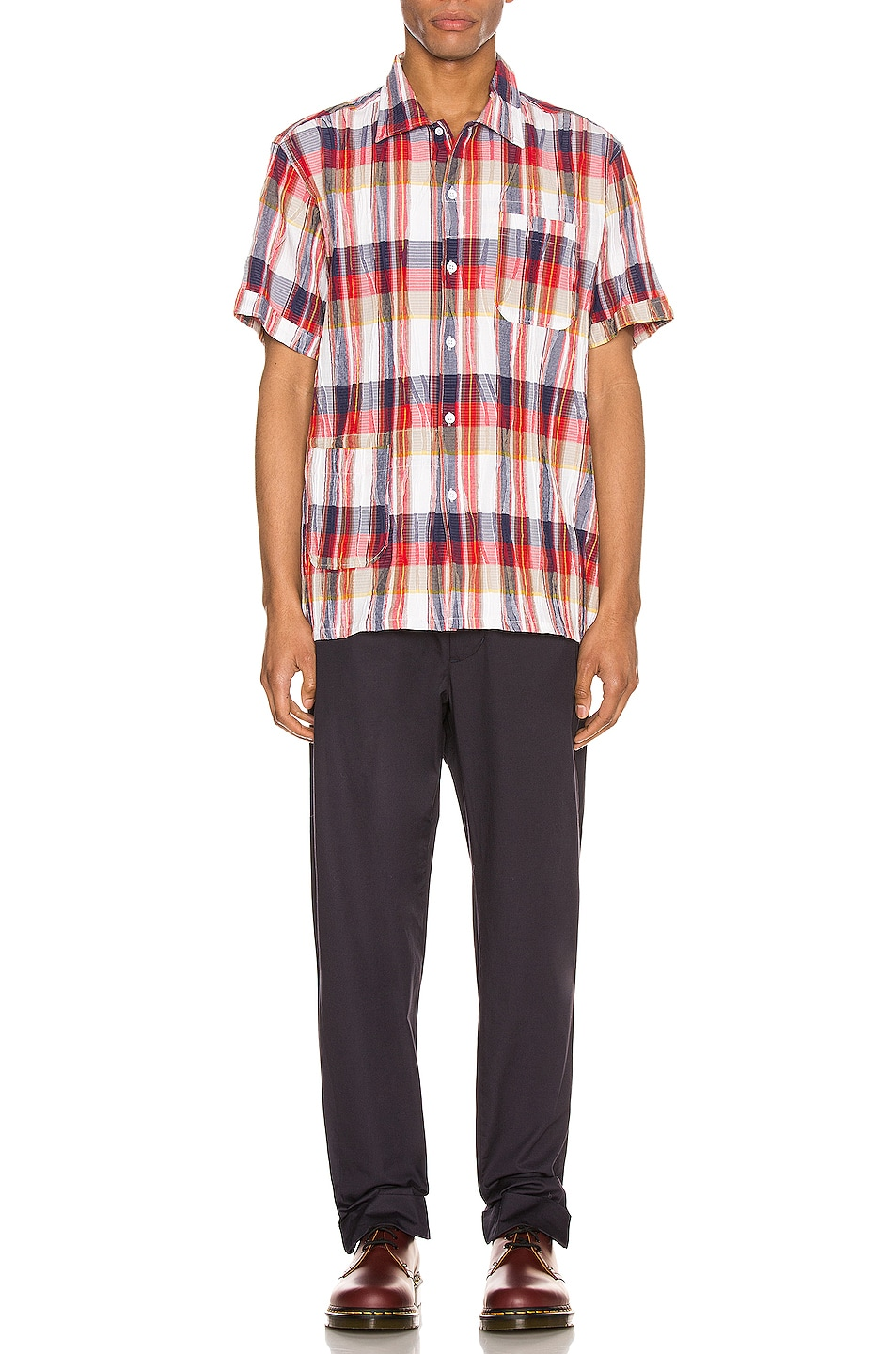 Image 4 of Engineered Garments Camp Shirt in Red & White Cotton Crepe Check