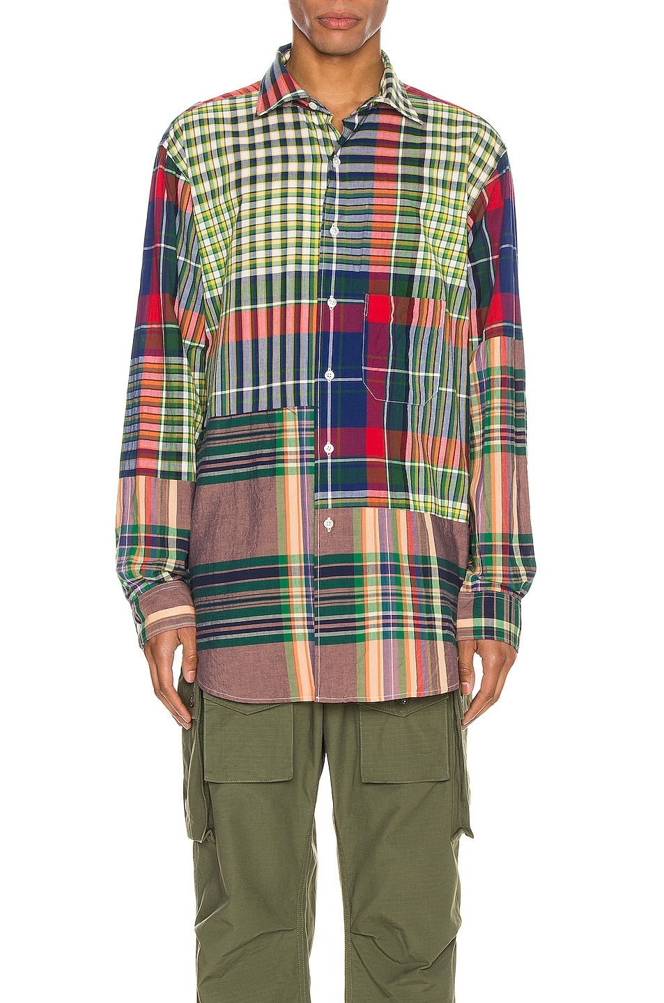 Image 1 of Engineered Garments Spread Collar Shirt in Red & Blue & Green Big Madras Plaid