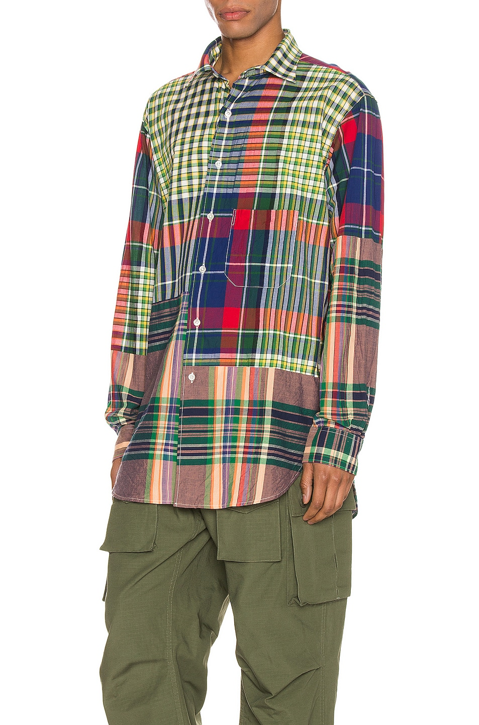 Image 3 of Engineered Garments Spread Collar Shirt in Red & Blue & Green Big Madras Plaid