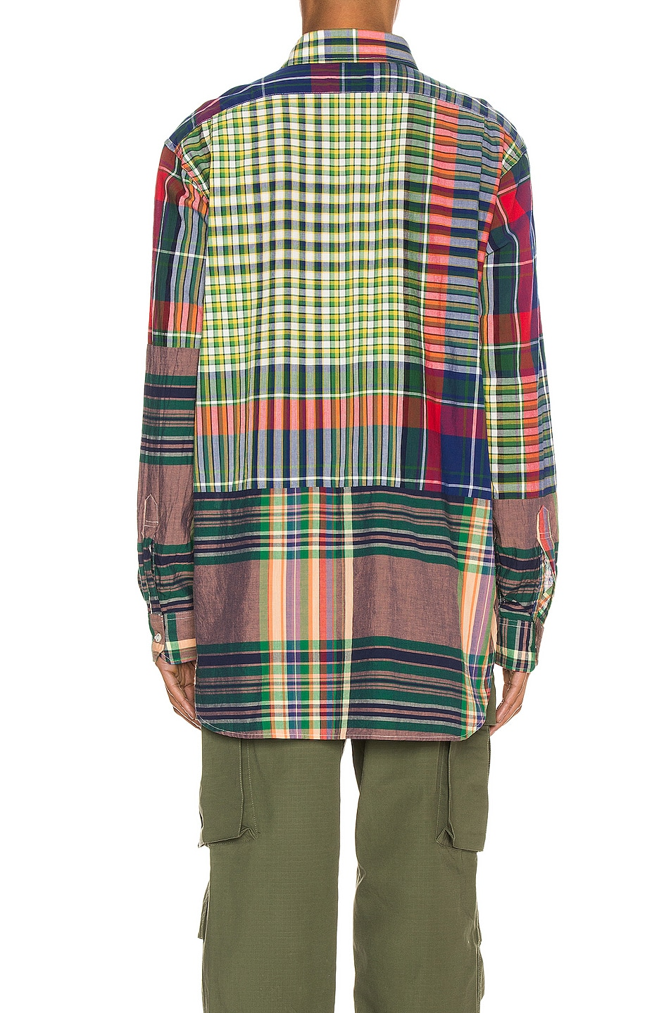 Image 4 of Engineered Garments Spread Collar Shirt in Red & Blue & Green Big Madras Plaid