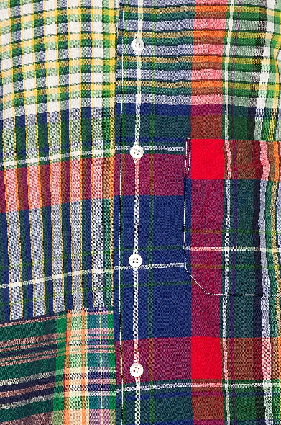 Image 6 of Engineered Garments Spread Collar Shirt in Red & Blue & Green Big Madras Plaid