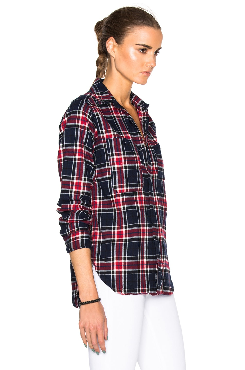 Image 3 of Engineered Garments Big Plaid Flannel Work Shirt in Navy & Red