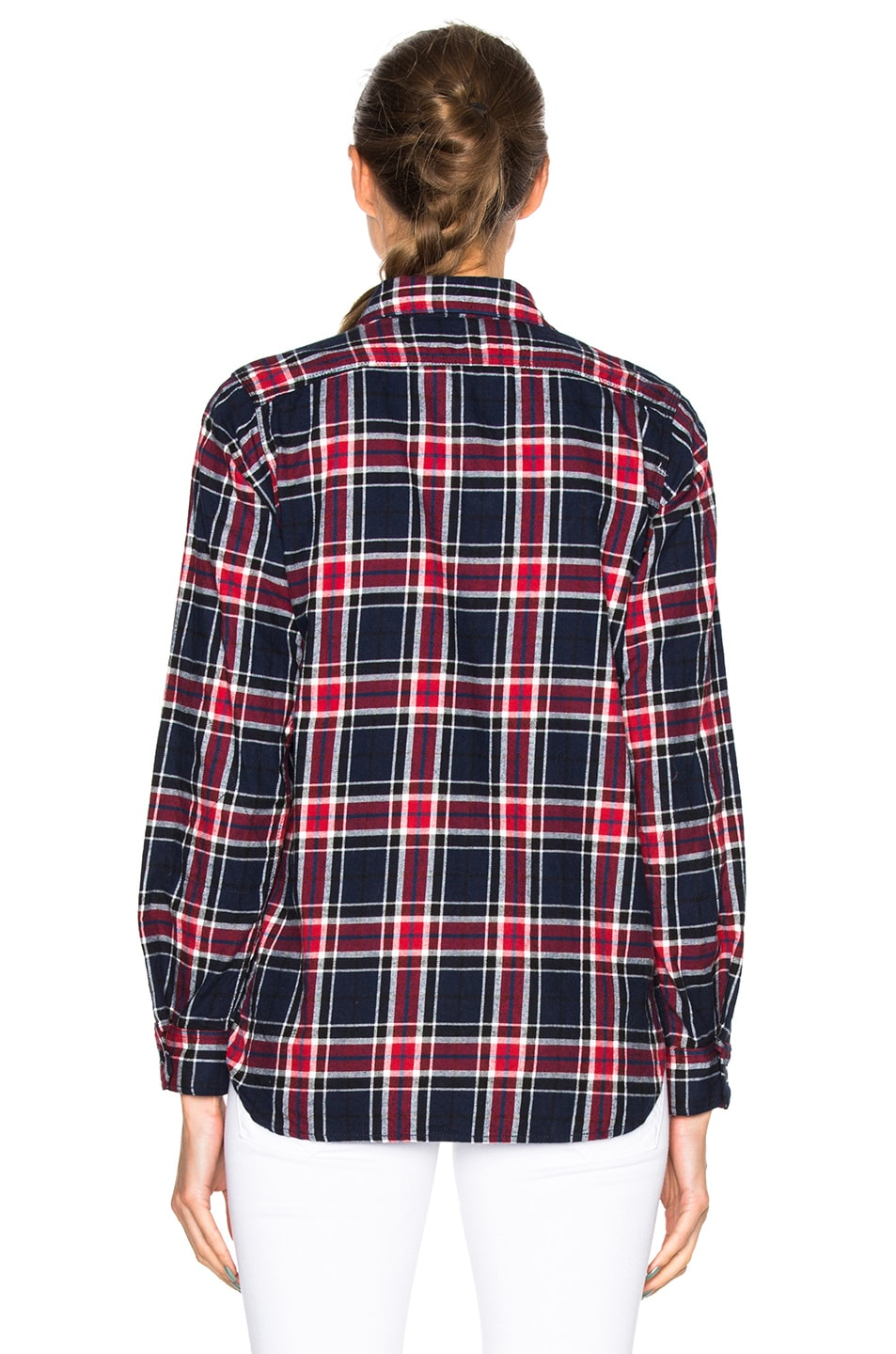 Image 4 of Engineered Garments Big Plaid Flannel Work Shirt in Navy & Red