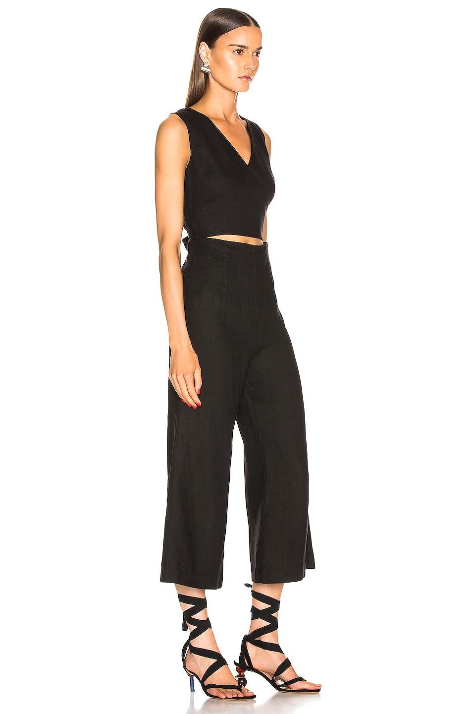 Image 2 of Enza Costa Linen Wrap Front Jumpsuit in Black