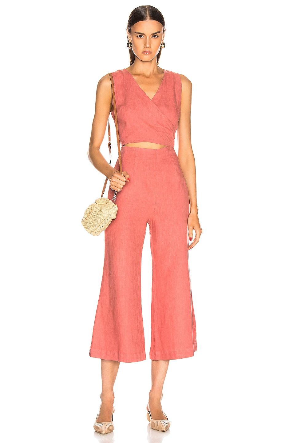 Image 1 of Enza Costa Linen Wrap Front Jumpsuit in Pink Sand
