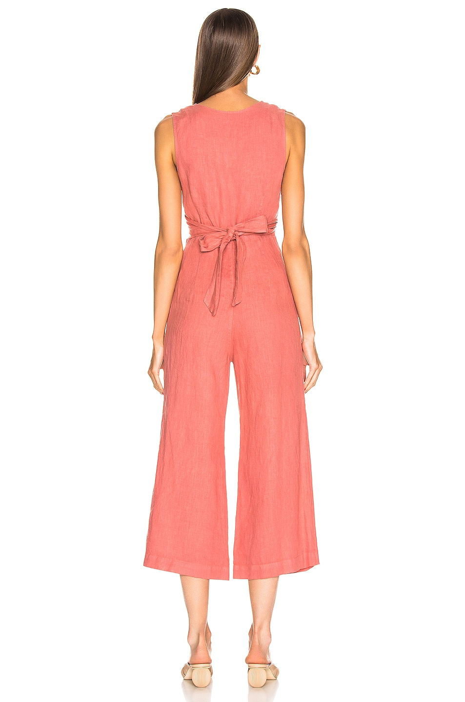 Image 3 of Enza Costa Linen Wrap Front Jumpsuit in Pink Sand