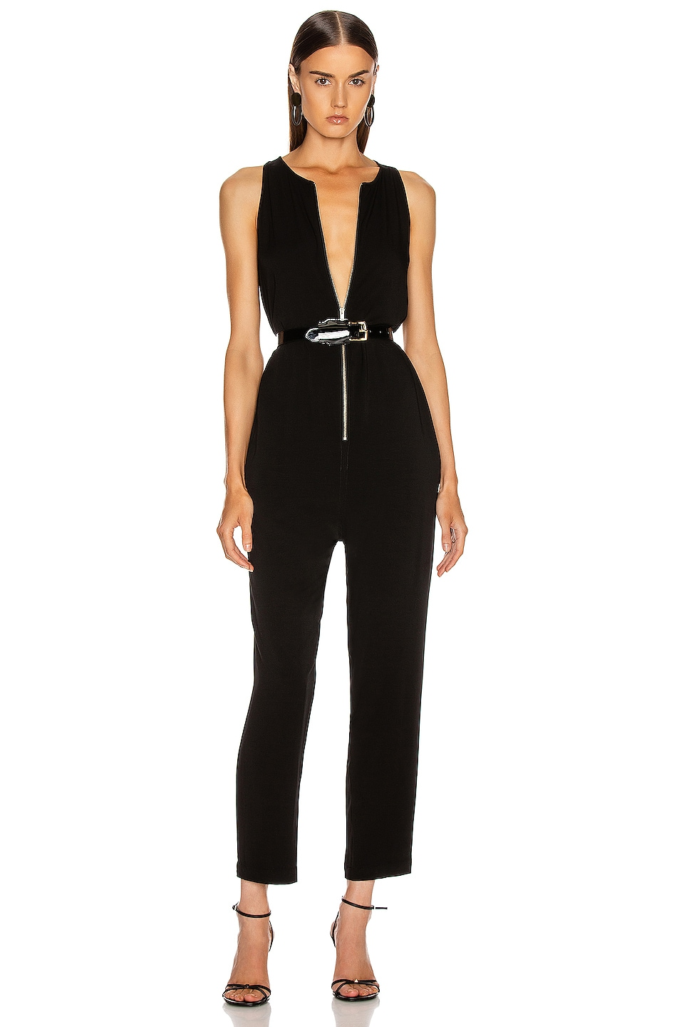 Image 1 of Enza Costa Front Zip Jumpsuit in Black